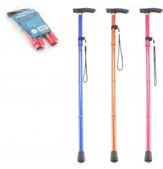 An assortment of metallic coloured walking sticks with an added folding function