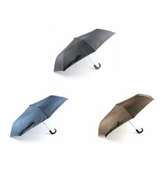 An assortment of 3 Deluxe Folding Umbrellas in black, brown and blue.