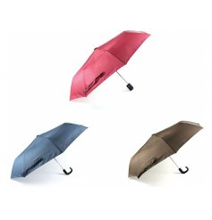 A fun and colourful assortment of Deluxe fabric umbrellas in a Fuchsia Pink, Navy Blue and Smoked Grey tone