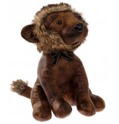 A brown Faux Leather Lion Doorstop