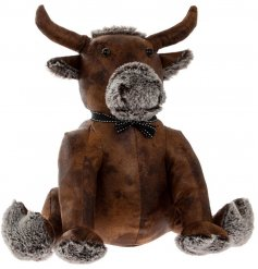A brown Faux Leather Bull Doorstop