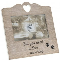 Wooden heart photo frame with sentimental dog wording