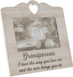 Sentimental Grandparents wooden heart photo frame