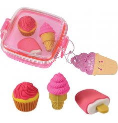 A charming little plastic clip box filled with an assortment of 3x fun shaped erasers