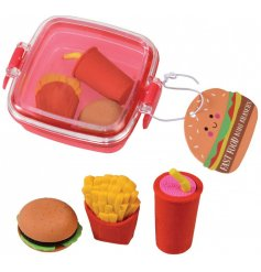 Add a delicious touch to any stationary set or school supply range with this little box of tasty looking pencil erasers
