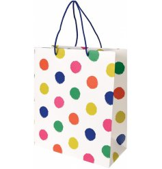 Bring a splash of colour to your gift giving with this trendy polka dot print bag