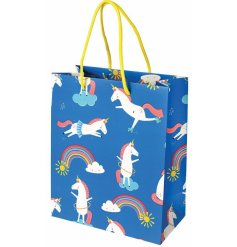 An enchanting gift bag covered with a fun unicorn decal