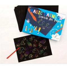 Create fun and magical themed doodles with these enchantingly fun Rainbow Scratch Paper