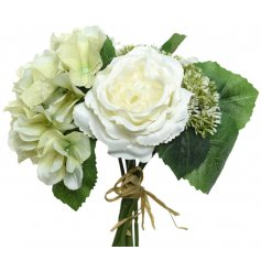 A beautiful bunch of artificial flowers tied together with a piece of straw.