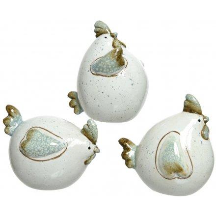 Green/Mink Terracotta Chicken Ornaments, 3ass