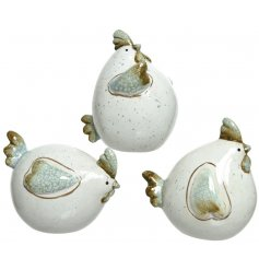 a charming assortment of 3 terracotta chickens, each set with a green and mink speckle effect