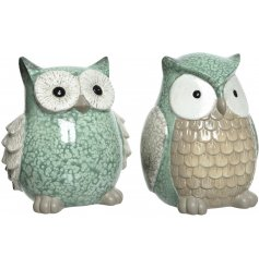 a charming assortment of green toned terracotta owl ornaments, suitable for indoor/outdoor use