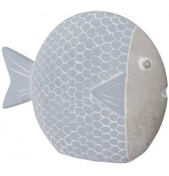 A nautical inspired concrete fish decoration set with a white washed effect and blue hue finish