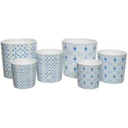Charming Blue Terracotta Planters