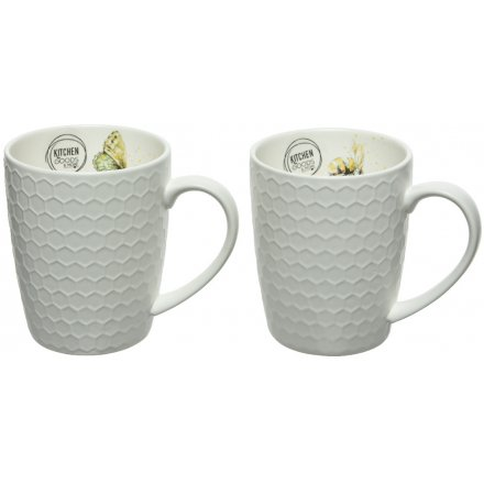 beautifully detailed with a Butterfly and Bee decal these mugs will compliment any home