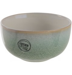 A beautiful two toned stoneware bowl set with an Earthen Green and Off White decal