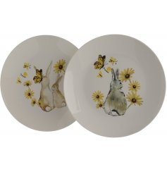 A mix of 2 charming sunflower, butterfly and bunny design plates. A pretty tableware item and decorative plate.