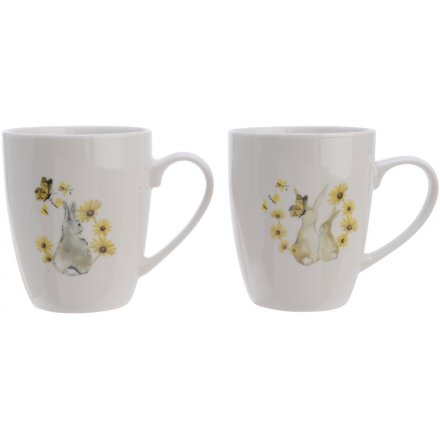 A set of 2 pretty floral and bunny design mugs with gift box. A charming gift item.