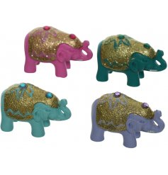 An assortment of colourful elephants inside mini bags, great little lucky gift ideas for friends or family