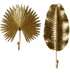A stylish assortment of golden toned wall hooks, set with a spike and leaf design