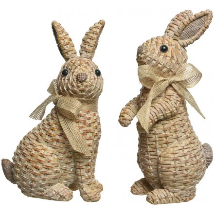 Polyresin Bunnies with Rattan Effect 14.5cm