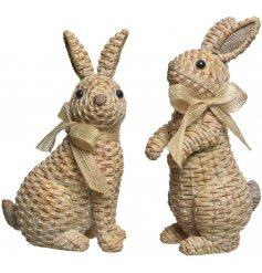A charming little assortment of Polyresin based Bunny Decorations set with a woven rattan effect