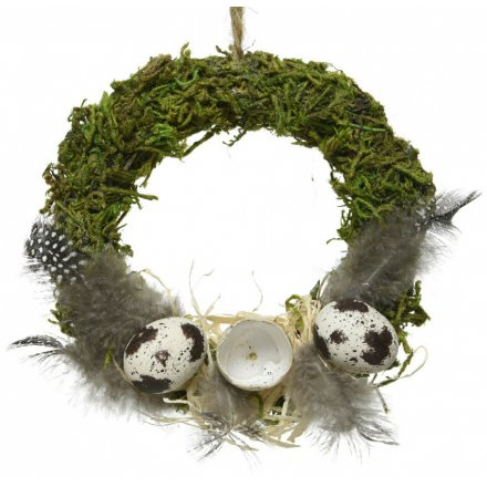 Moss & Feather Round Wreath