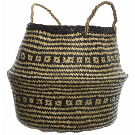 Aztec Print Seagrass Basket, 42cm