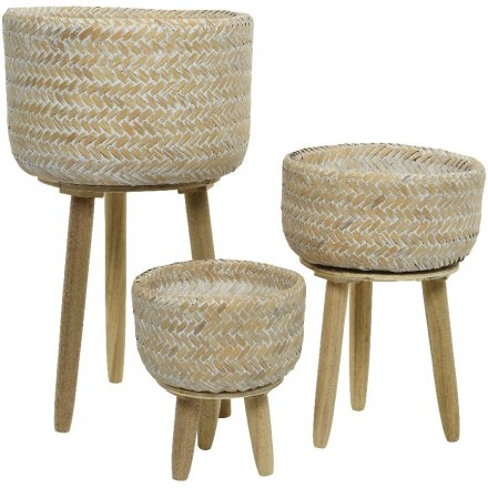 Bamboo Basket On Foot, Set of 3 Natural, 52cm