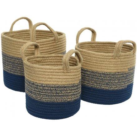 Nautical Jute Baskets, Set 3, 30cm