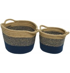 A set of 2 navy stripe jute baskets with handles. A set of stylish storage baskets for the home.