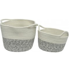 A set of 2 stylish cotton baskets with a natural white and grey weave. Complete with handles.