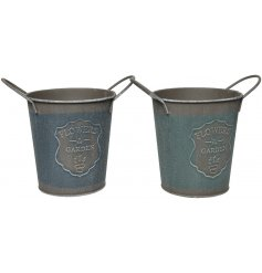 A mix of 2 charming country living buckets, each with a Flowers and Garden emblem.