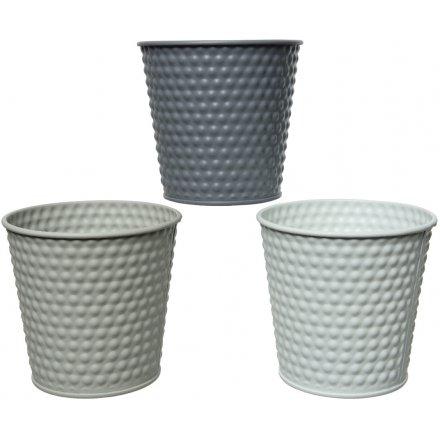 Grey Toned Planters, 14cm