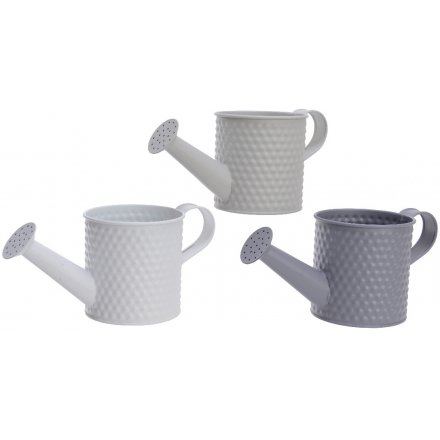 Grey Toned Watering-can Planters, 10.5cm