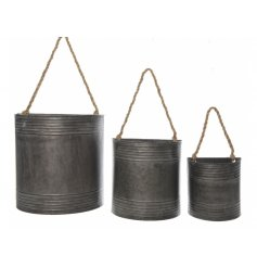 A set of 3 rustic style zinc wall planters with a chunky rope hanger.