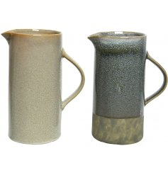 An assortment of 2 stoneware jugs, each with a natural glaze.
