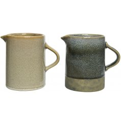 An assortment of 2 stoneware jugs with a natural and grey finish.