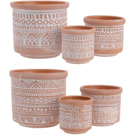 Dolomite Aztec Planters, Set 3