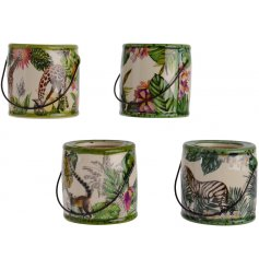 A mix of 4 tropical planters with a colourful palm leaf and animal design. Complete with wire handle.