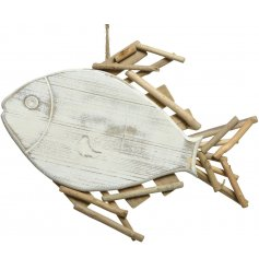 A rustic fish ornament crafted with recycled wood with a jute string hanger.