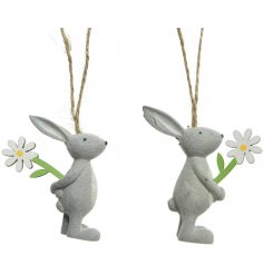 A mix of 2 adorable bunny ornaments, each with a wooden daisy.