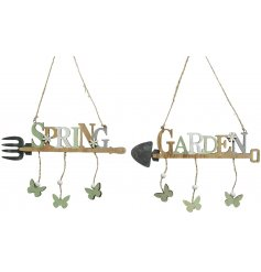 A mix of 2 shabby chic style wooden signs in Spring and Garden designs. Complete with hanging butterflies and flowers.