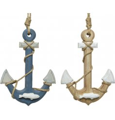 An assortment of 2 hanging anchor decorations with chunky rope decoration and wooden fish.