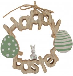 A charming wooden Happy Easter Wreath with a miniature bunny ornament and jute hanger.