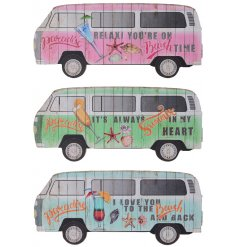 An assortment of 3 colourful camper van design signs in pink, blue and green finishes.