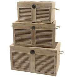 A set of 3 wooden storage boxes with shutters, rope handles and a vintage style clasp.