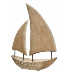 A simple and stylish mango wood boat ornament.