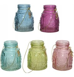 A mix of 5 Moroccan inspired glass lanterns with a gold tropical palm tree charm and gold wire hanger.