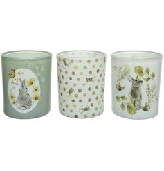 A delightful assortment of glass candle holders, delicately covered with Vintage Easter themed prints